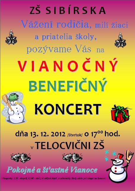 Pozvánka na vianočný benefičný koncert